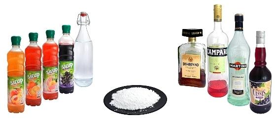 Likör, Sirup und Puderzucker
