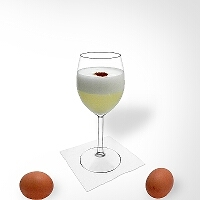 Pisco Sour im Champagnerglas.