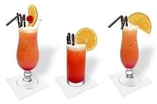 Verschiedene Tequila Sunrise Dekorationen