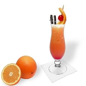 Tequila Sunrise im Hurricane-Glas, eine gute Option für diesen imposanten Tequila-Cocktail.